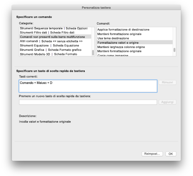Personalizzazioni della tastiera di Excel per Mac