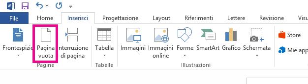 L'opzione Pagina vuota è nella scheda Inserisci.