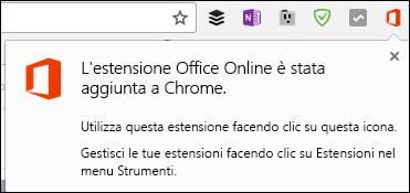 Chrome avvisa che l'estensione Office Online è stata aggiunta correttamente