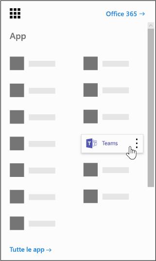 Icona di avvio delle app di Office 365 con l'app Microsoft Teams evidenziata