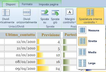 Uso dell'opzione Padding per creare spazio tra i controlli