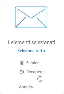 Una schermata mostra l'opzione Recupera selezionata nel riquadro di lettura.