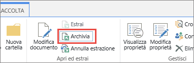 pulsante e descrizione comando Archivia del documento