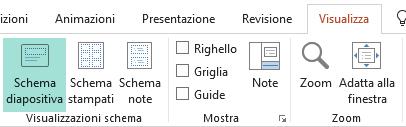 I layout diapositiva possono essere personalizzati nella visualizzazione Schema diapositiva