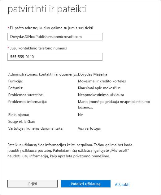 Confermare e inviare una pagina del modulo di richiesta di Office 365 Admin Center servizio.