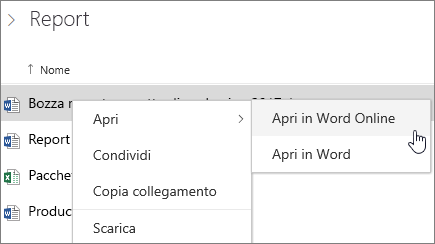 Aprire file in Word Online in OneDrive