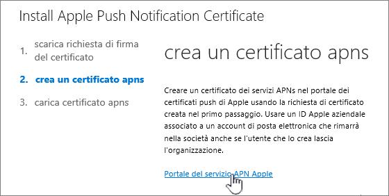 Finestra di dialogo Installa certificato APN con l'opzione Portale del servizio APN Apple selezionata