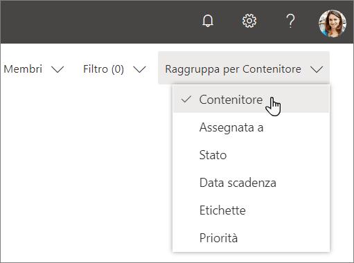 Screenshot di Raggruppa per elenco a discesa in Planner, con contenitore selezionato