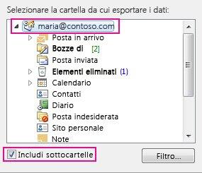 finestra di dialogo esporta file di dati di outlook con la cartella principale selezionata e l'opzione includi sottocartelle selezionata