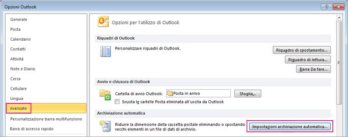 Scegliere Avanzate e quindi Impostazioni archiviazione automatica.