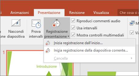 Mostra il pulsante Avvia registrazione in PowerPoint
