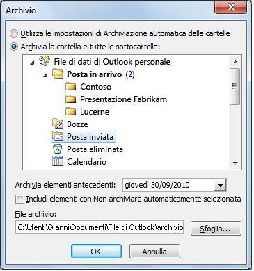 finestra di dialogo archivio