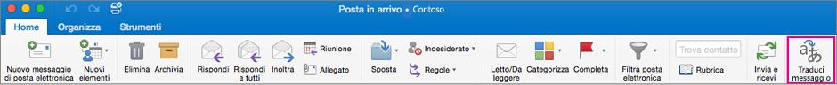 Pulsante Traduci sulla barra multifunzione di Outlook per Mac