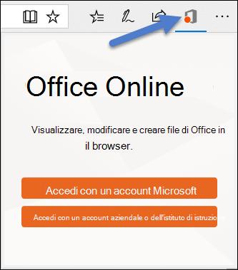 La finestra di dialogo accesso per l'estensione di Office Online nel bordo