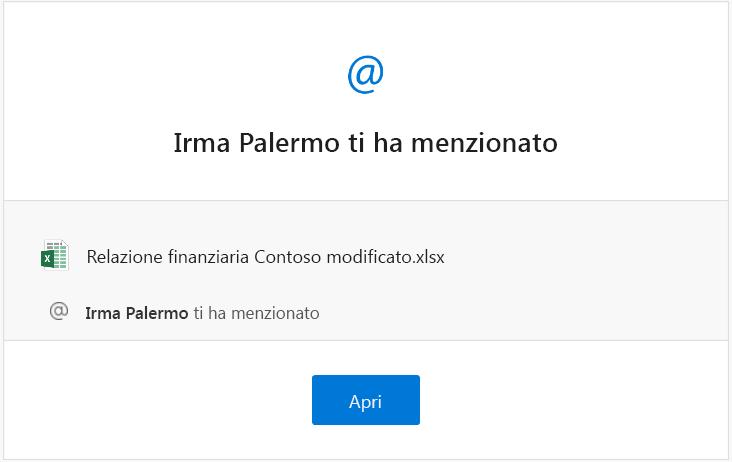 Screenshot di un messaggio di posta elettronica di notifica delle menzioni da Excel