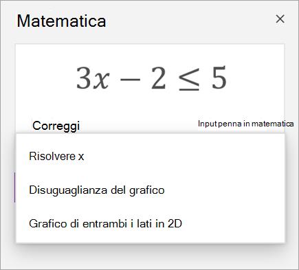 Equazione con un elenco a discesa di modi per risolverla.