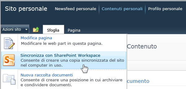 Comando Sincronizza con SharePoint Workspace nel menu Azioni menu