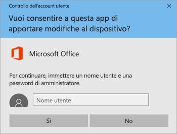 Screenshot che mostra la finestra Controllo dell'account utente