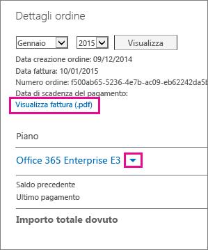 """Selezionare """"Visualizza fattura (.pdf)"""" per scaricare la fattura in formato PDF."""