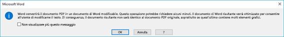 Word conferma che tenterà di adattare dinamicamente il contenuto del file PDF aperto.