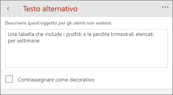 Finestra di dialogo testo alternativo per le tabelle in PowerPoint per Windows Phone.