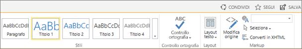 Screenshot di una sezione della barra multifunzione di SharePoint Online con i controlli Condividi, Segui e Salva.