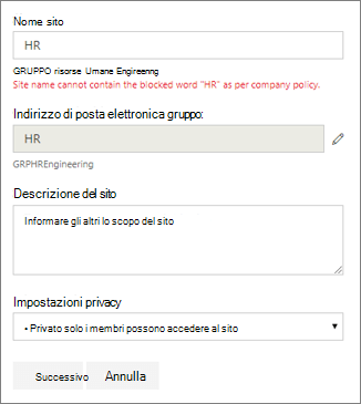 Screenshot: Criteri di denominazione del gruppo - Nome del sito di SharePoint bloccato