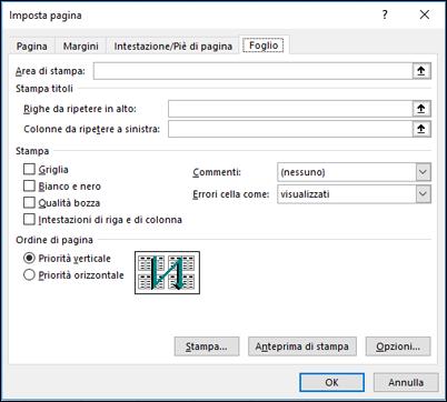 Imposta pagina > Opzioni del foglio