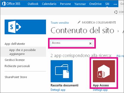 ricerca di un'app access nella pagina aggiungi un'app in sharepoint