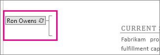 Nome dell'autore visualizzato nel punto del documento in fase di modifica