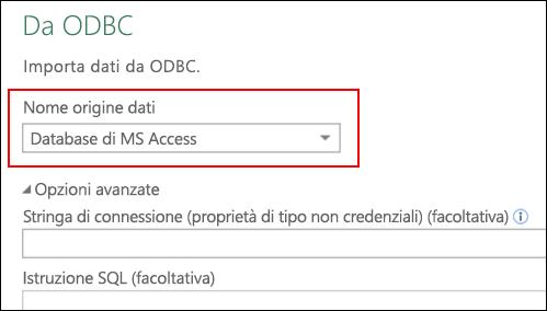 Power Query - Connettore ODBC - Supporto per la selezione di DSN di utente/sistema