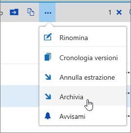 Menu Documento con l'opzione Archivia evidenziata