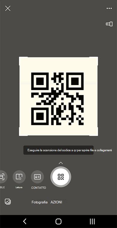 Screenshot di Microsoft Lens in un telefono Android