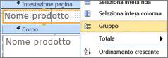 Selezionare l'opzione Raggruppa secondo per creare un report con gruppi