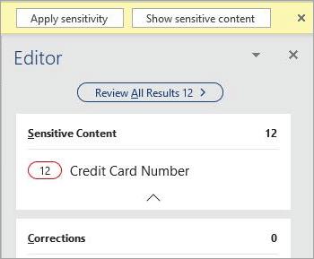 Screenshot del contenuto sensibile nel riquadro Editor