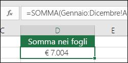 SOMMA 3D tra fogli denominati.  La formula in D2 è =SOMMA(Gennaio:Dicembre!A2)