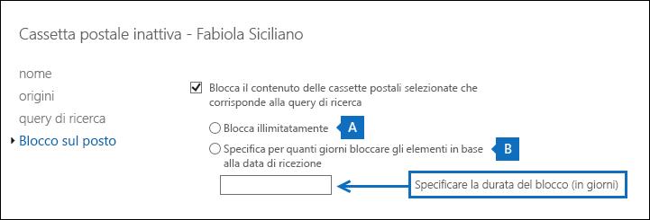 Screenshot della modifica della durata per un blocco sul posto