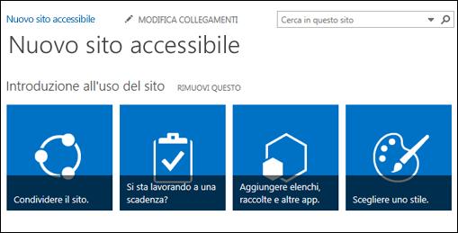 schermata del nuovo sito di sharepoint che mostra i riquadri usati per personalizzare il sito