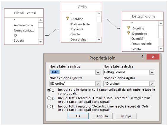 Screenshot di tre tabelle e della rispettiva finestra di dialogo Proprietà join
