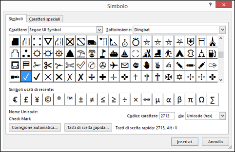 Elenco dei caratteri speciali disponibili all'interno del tipo di carattere Wingdings.