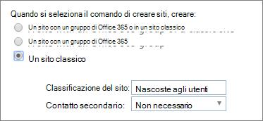 Elenco a discesa classificazione di sito