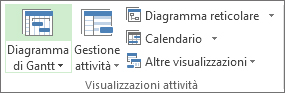 Gruppo Visualizzazioni attività nella scheda Visualizza.