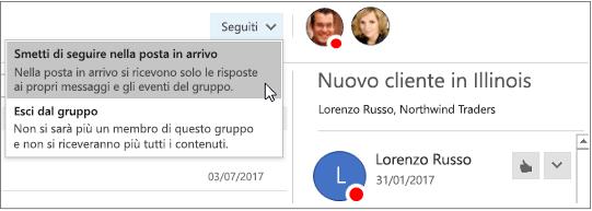Pulsante Sottoscrivi nell'intestazione di gruppo in Outlook 2016