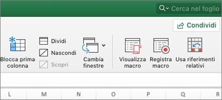 Pulsante riferimenti relativi nella scheda Visualizza