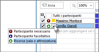 Fare clic sull'icona a sinistra del nome e quindi su Risorsa