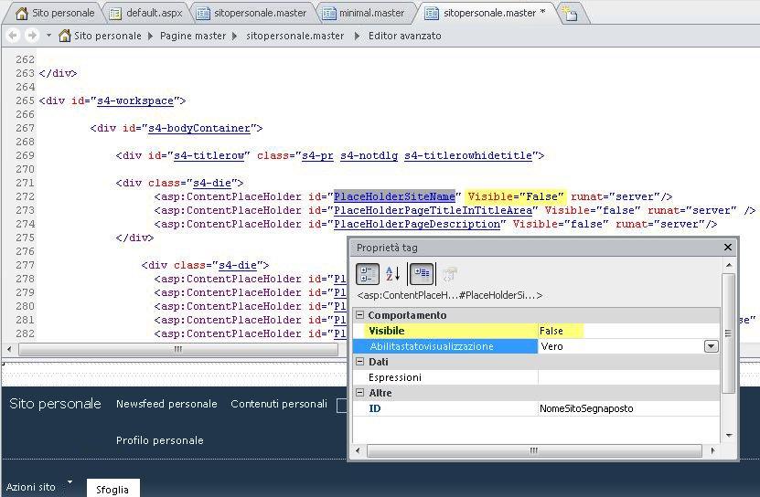 Visualizzazione delle proprietà tag per il controllo PlaceHolderSiteName.