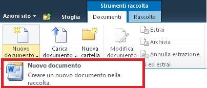 Aggiunta di un nuovo documento in una raccolta documenti