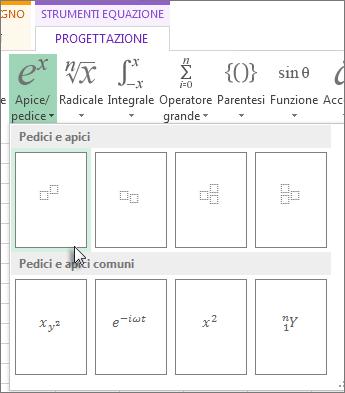 Pulsante Apice sulla barra degli strumenti delle equazioni