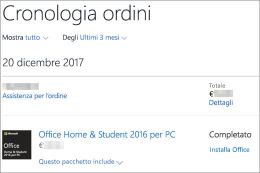 Mostra la pagina Cronologia ordini nel Microsoft Store