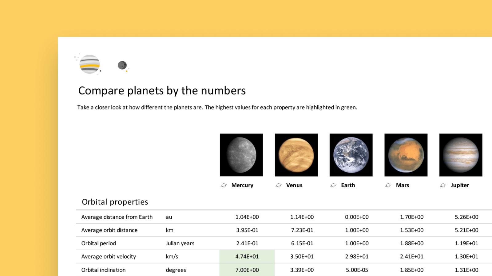 screenshot del modello dei pianeti Wolfram